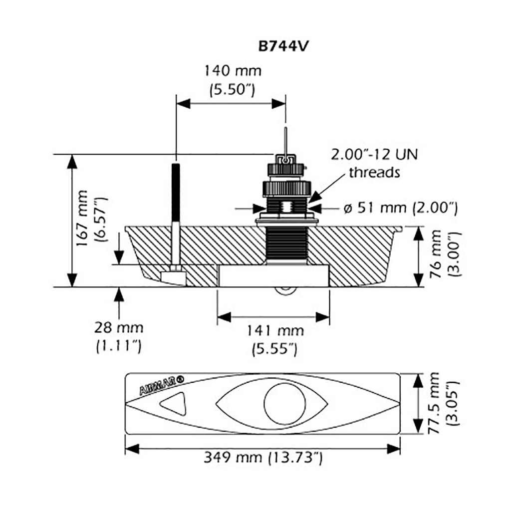 Gemeco B744v Transducer Profile Dim Engine Diagram Specifications